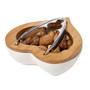 Nutcracker and Bowl Porcelain, Bamboo Trim Heart Shaped (Gift)