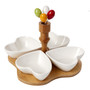Appetizer Tray White Ceramic Hearts 4 Section  on Bamboo (Favor)