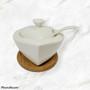 Sugar Holder Heart Shaped Porcelain on Bamboo Base Engagement Party Ideas