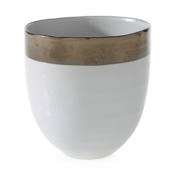 Specialty Jovi Pot Ceramic by Accent Decor. This is a white ceramic with gold accent.