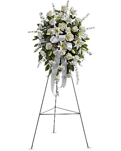 The elegant spray includes white roses, white Asiatic lilies and white carnations, accented with assorted greenery