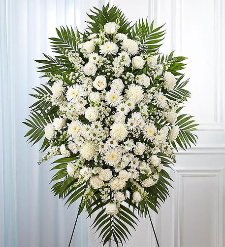 "All-white standing spray arrangement with roses,  mums, cremones, stock, snapdragons, carnations, daisy poms and monte casino; accented with soft, lush greenery Measures approximately 56""H x 38""L without stand Arrives on an easel Appropriate for the funeral home or gravesite Our designers hand-design each arrangement, so varieties may vary due to local availability"