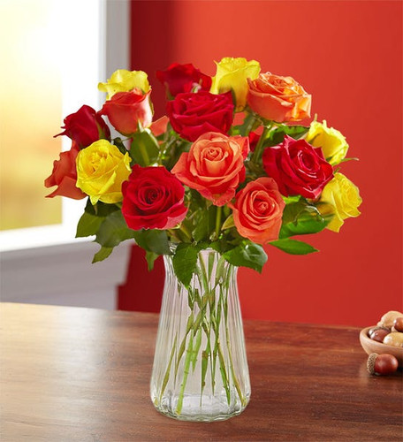 Assorted Fall Rose Bouquet features red, orange, and yellow roses for a total of 18 stems