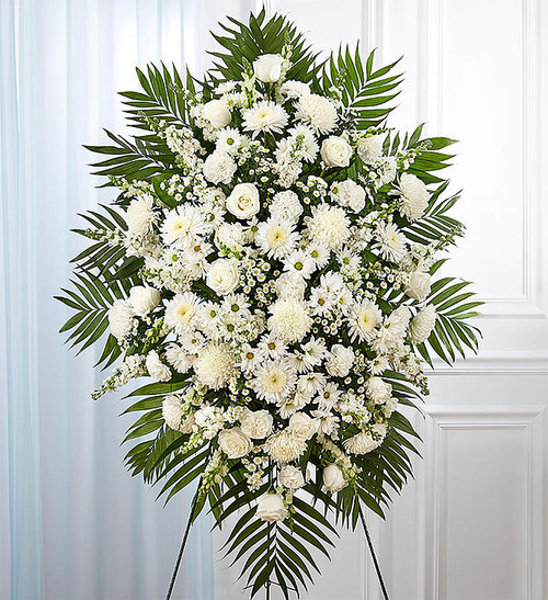 """All-white standing spray arrangement with roses,  mums, cremones, stock, snapdragons, carnations, daisy poms and monte casino; accented with soft, lush greenery Measures approximately 56""""H x 38""""L without stand Arrives on an easel Appropriate for the funeral home or gravesite Our designers hand-design each arrangement, so varieties may vary due to local availability"""