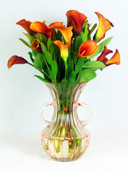 20 Callas with Safari Sunset in a crystal vase