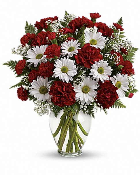Red carnations, red miniature carnations, white daisy spray chrysanthemums, baby's breath and leatherleaf fern. Delivered in a spring garden vase.
