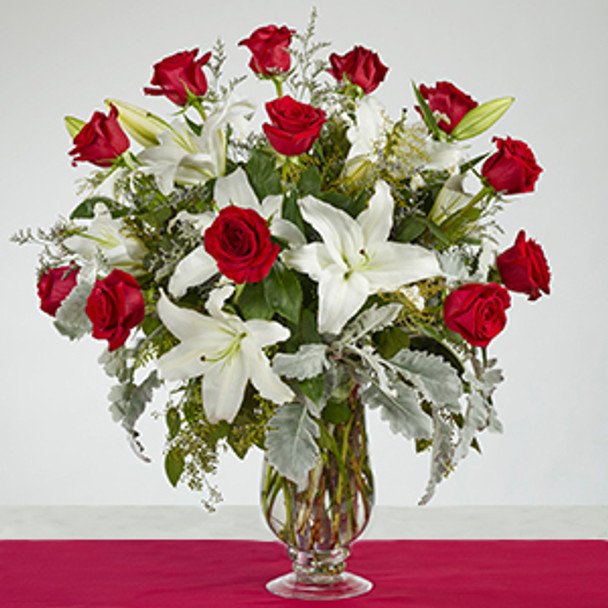 18 Red Roses , White Oriental Lilies with Dusty Miller