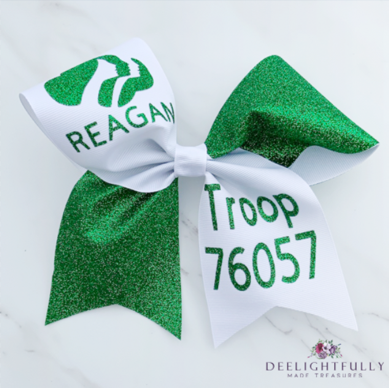 Personalized Girl Scouts Cheer Bow - Custom Cheer Bows