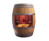Oak Barrel Wine Cabinet (Lighted)