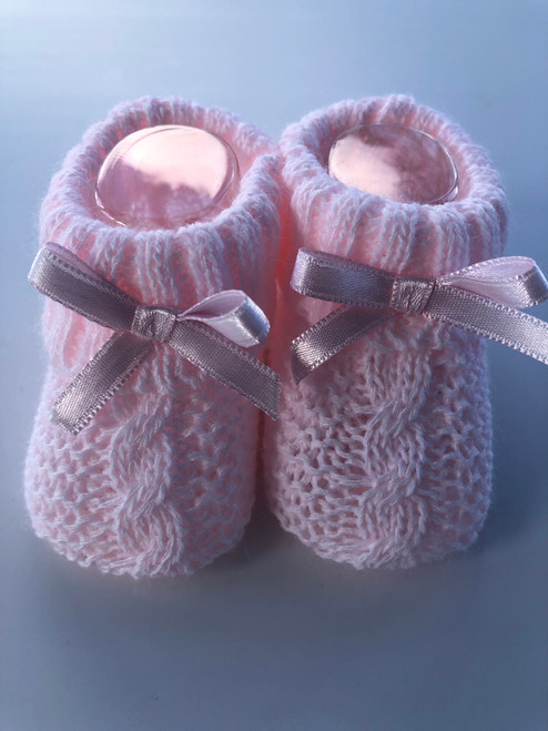 Knitted bootees Pink
