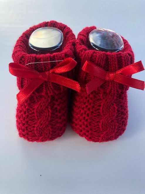 Knitted bootees Red