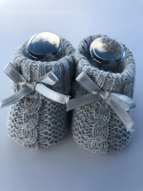 Knitted bootees grey