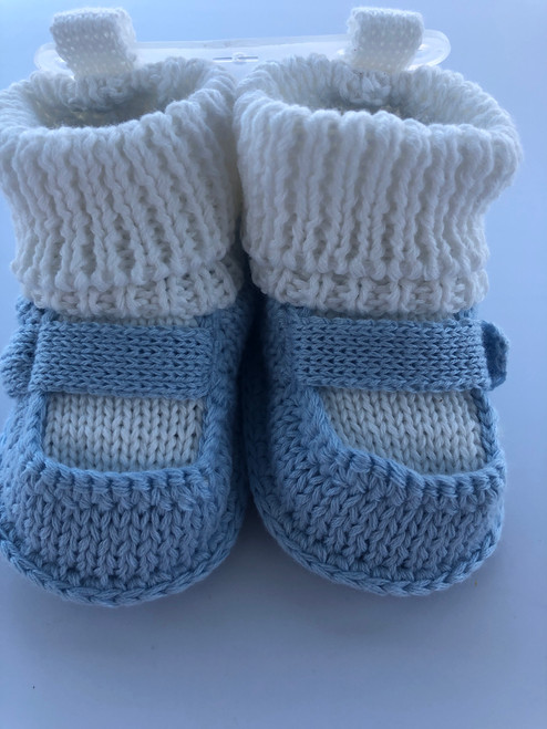 Soft shoes knitted blue/white