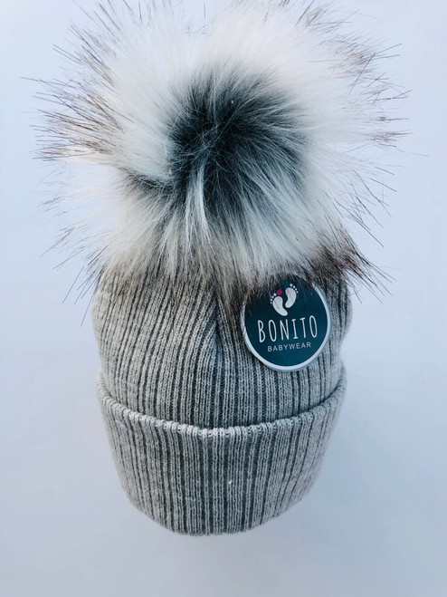 2 nd size fur Pom hat Grey