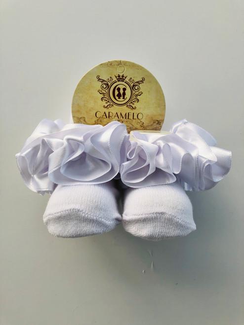 Satin style TuTu socks white