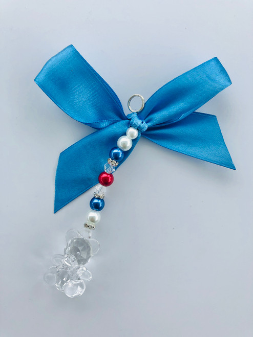 Red white & blue teddy charm small