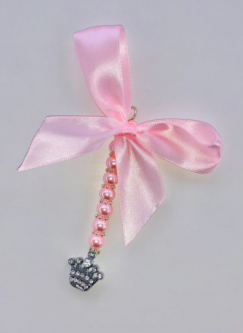 Crown pram charm pink