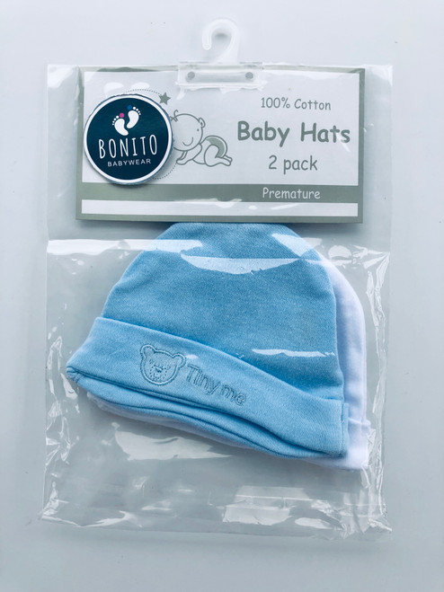 Pack of two premature hats Blue