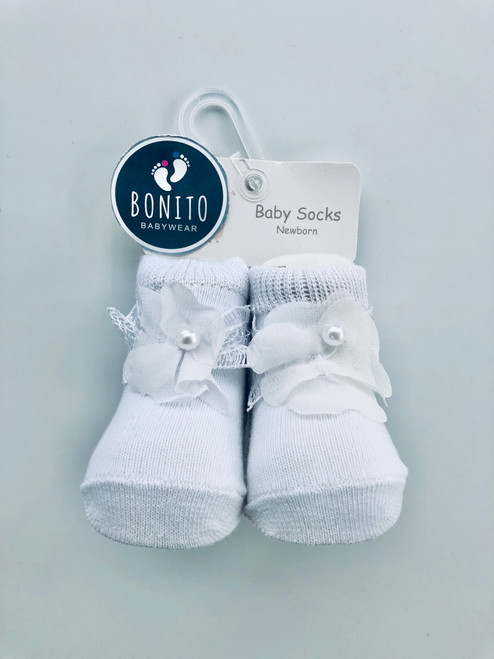 Flower booties white