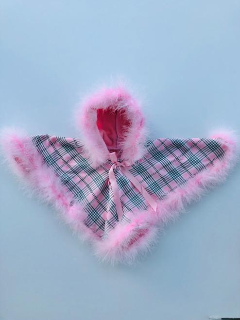 Pink tartan poncho