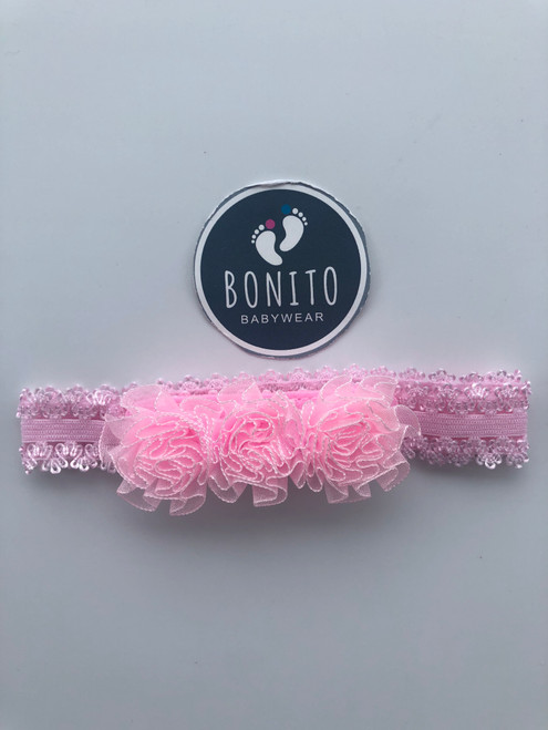 3 flower hairband pink