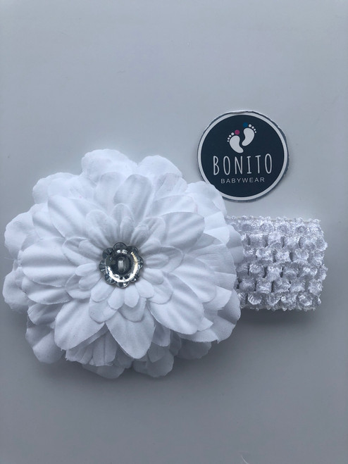 Big flower/diamanté  hairband white