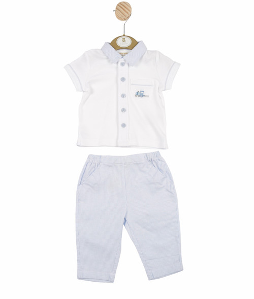 Top and trouser blue/white