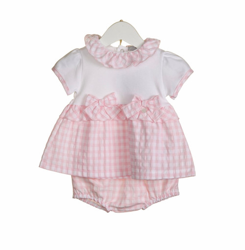 Pink gingham top and bloomer set