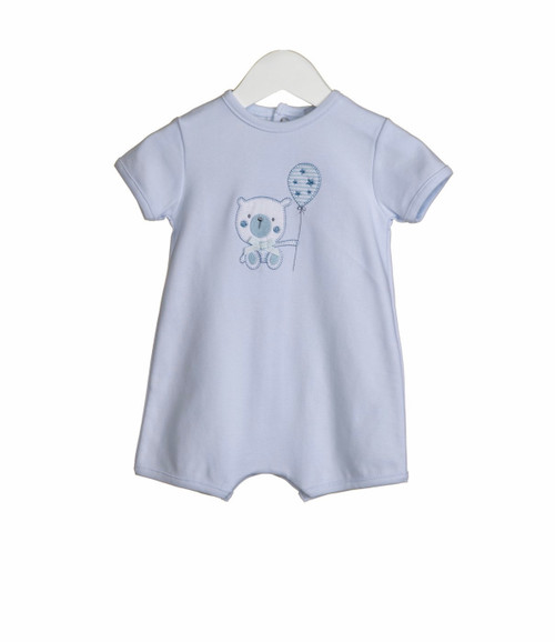 Boys romper with bear appliqué embroidery