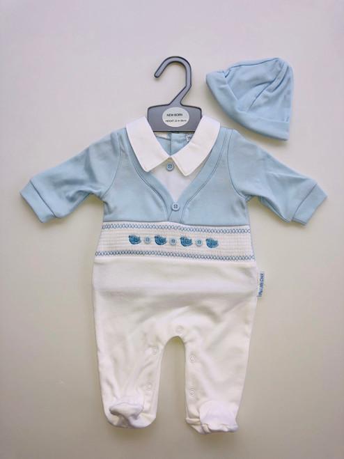 White/blue baby grow