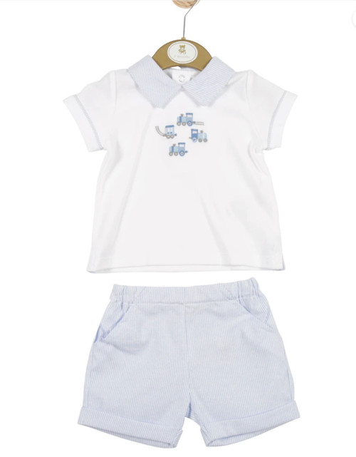 MB3317 - Boys White Top and Blue Striped Shorts Set with Train Theme