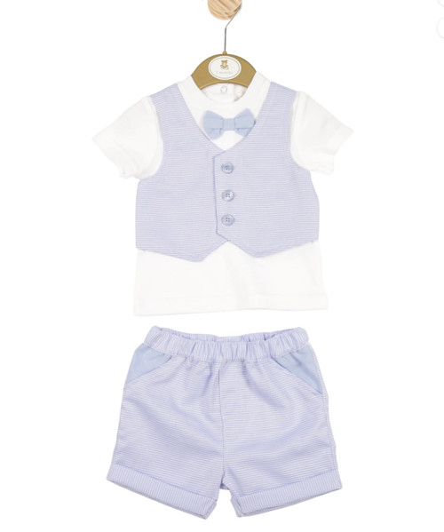 - Boys blazer Shirt and Blue Shorts Set