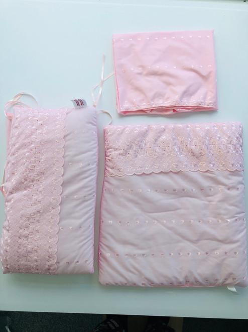 3 piece Crib dressing pink