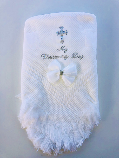 Blinged christening day shawl white