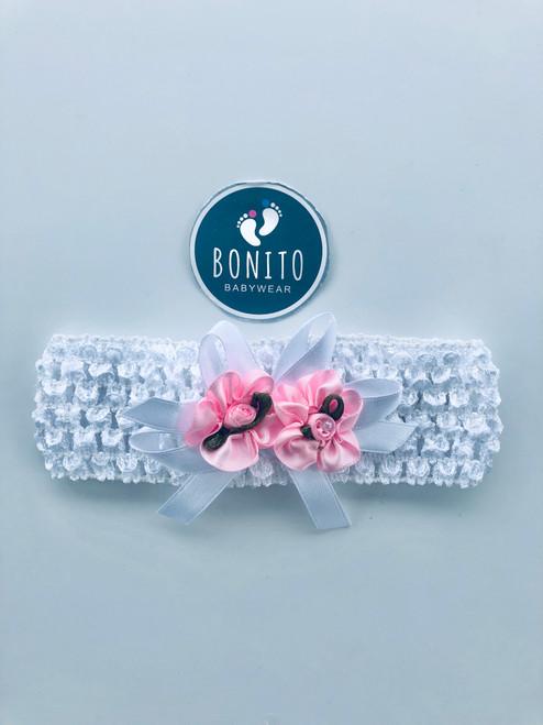 Hand made hairband white/pink
