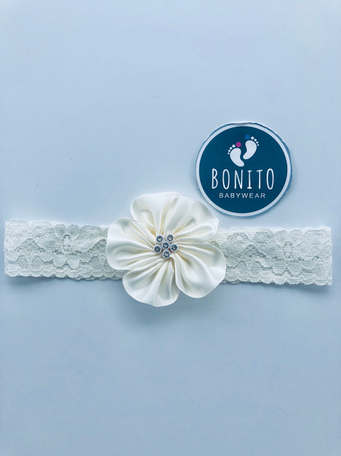 Diamanté hairband cream