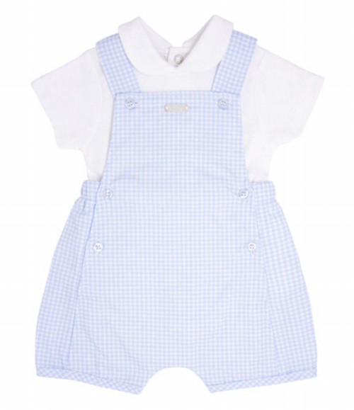 Blues baby gingham dungaree