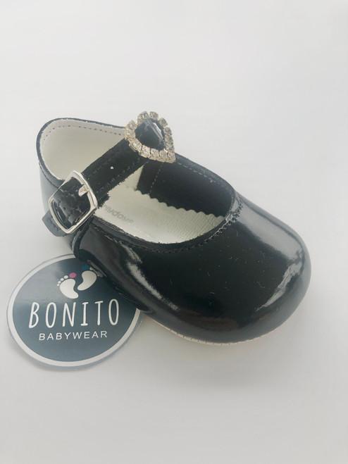 Soft sole shoe diamanté black