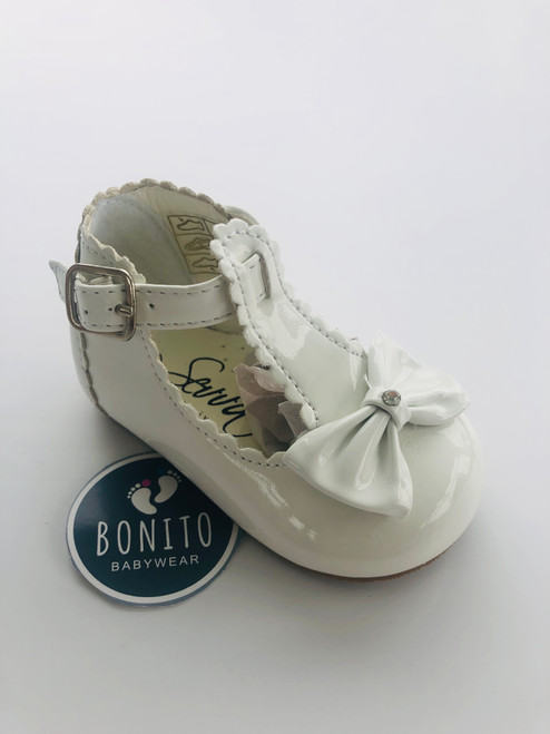 Hard sole shoe with diamanté White