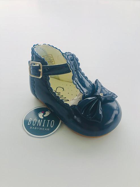 Hard sole shoe with diamanté navy