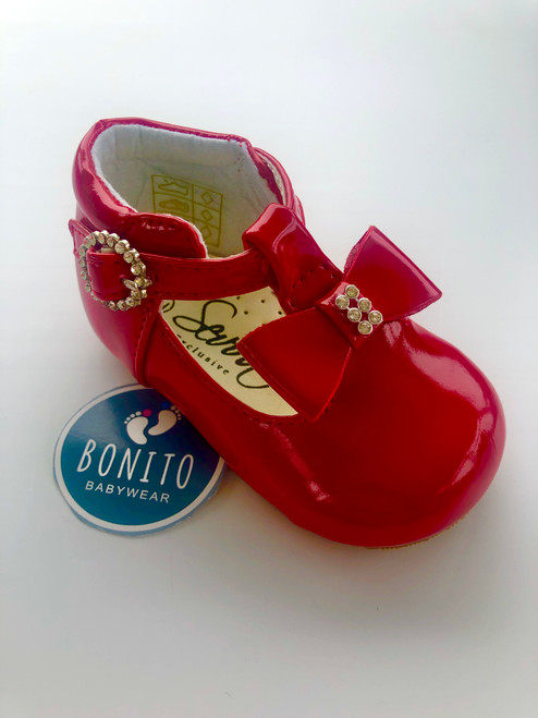 Hard sole shoe with diamanté cluster red