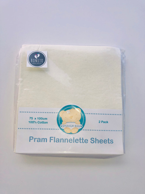 Cotton pack of 2 flat pram flat sheets cream