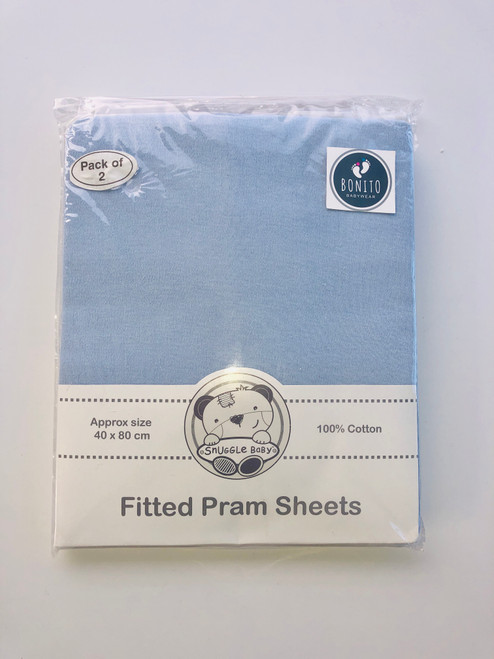 Cotton pack of two fitted pram sheets Blue
