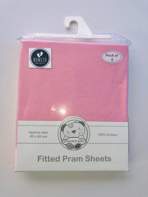 Cotton pack of 2 fitted pram sheets pink