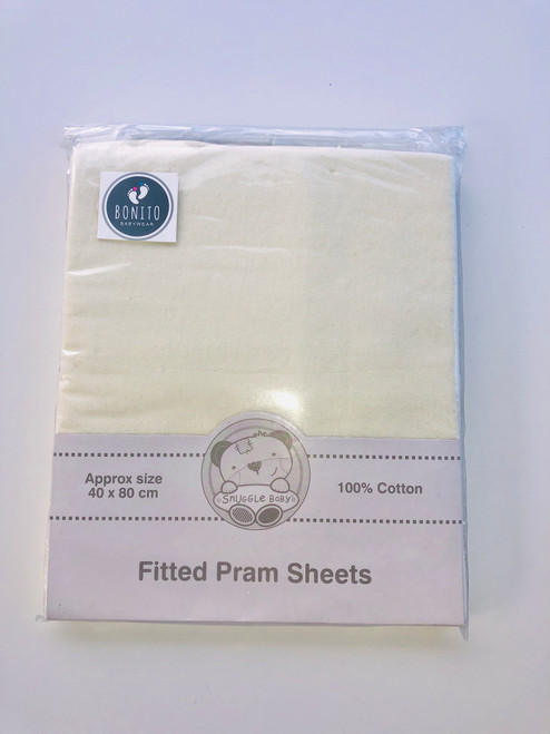 Cotton pack of two fitted pram sheets cream