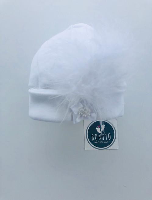 Fluffy hat white