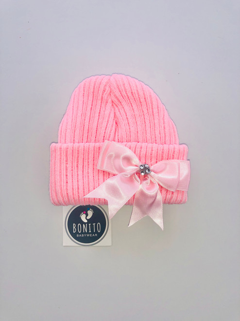 Diamanté beanie hat pink