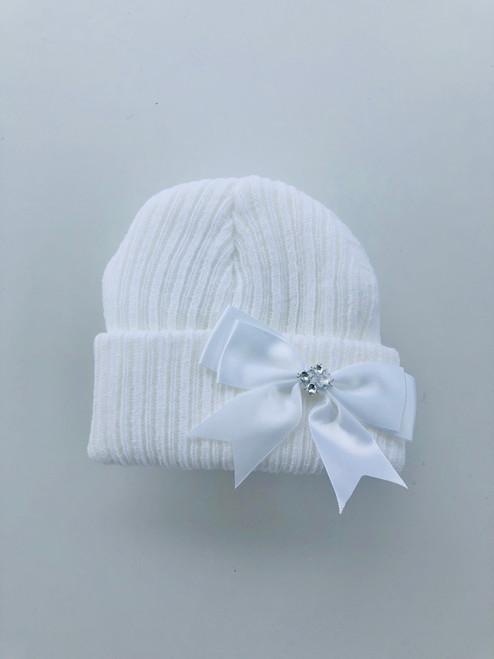 Diamanté beanie hat white