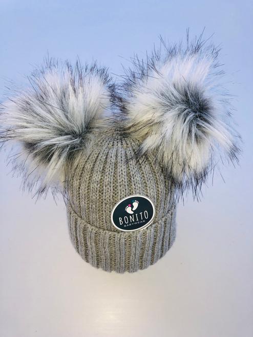 2  pom-pom hat grey