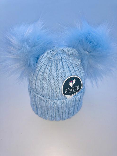 2 pom-pom hat blue